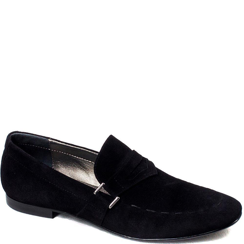 Замшевые туфли Modus Vivendi черного цвета и декоративной строчкой