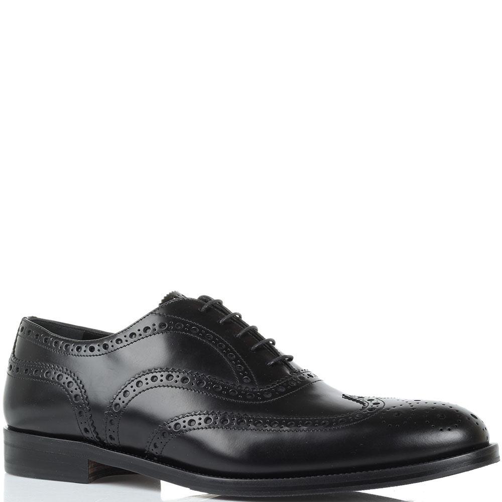 Кожаные туфли-броги черного цвета Lanciotti de Verzi на шнуровке