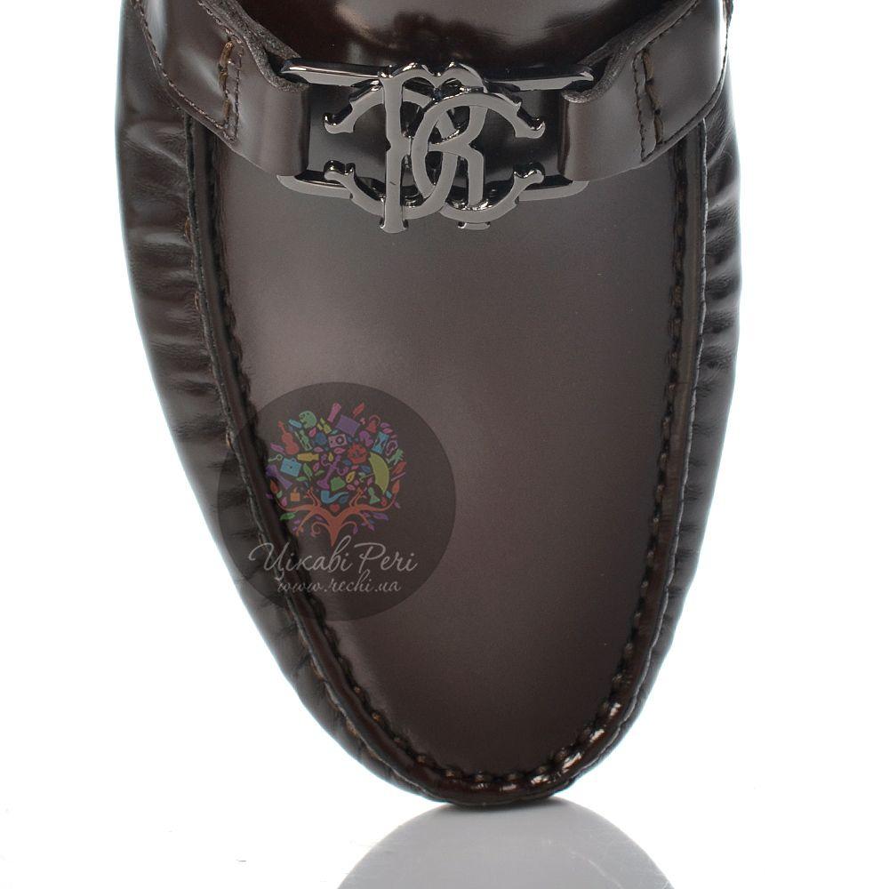 Лоферы Roberto Cavalli из полированной темно-коричневой кожи на удобной подошве спортивного типа