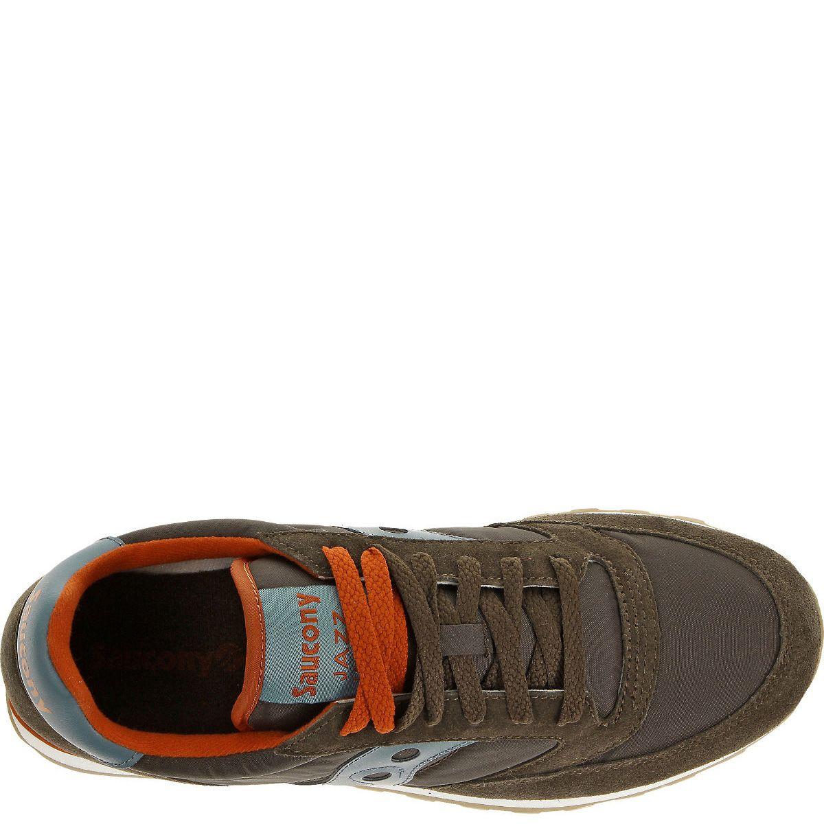 Кроссовки Saucony Jazz Low Pro коричневые с серо-голубым и приглушенным оранжевым