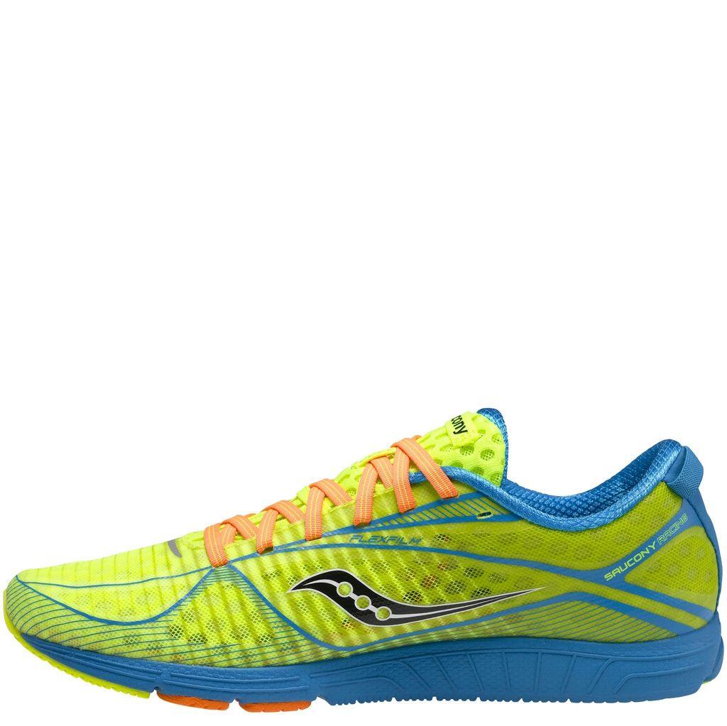 Очень легкие мужские кроссовки Saucony Type A6 ярко-зеленые с голубым и оранжевым