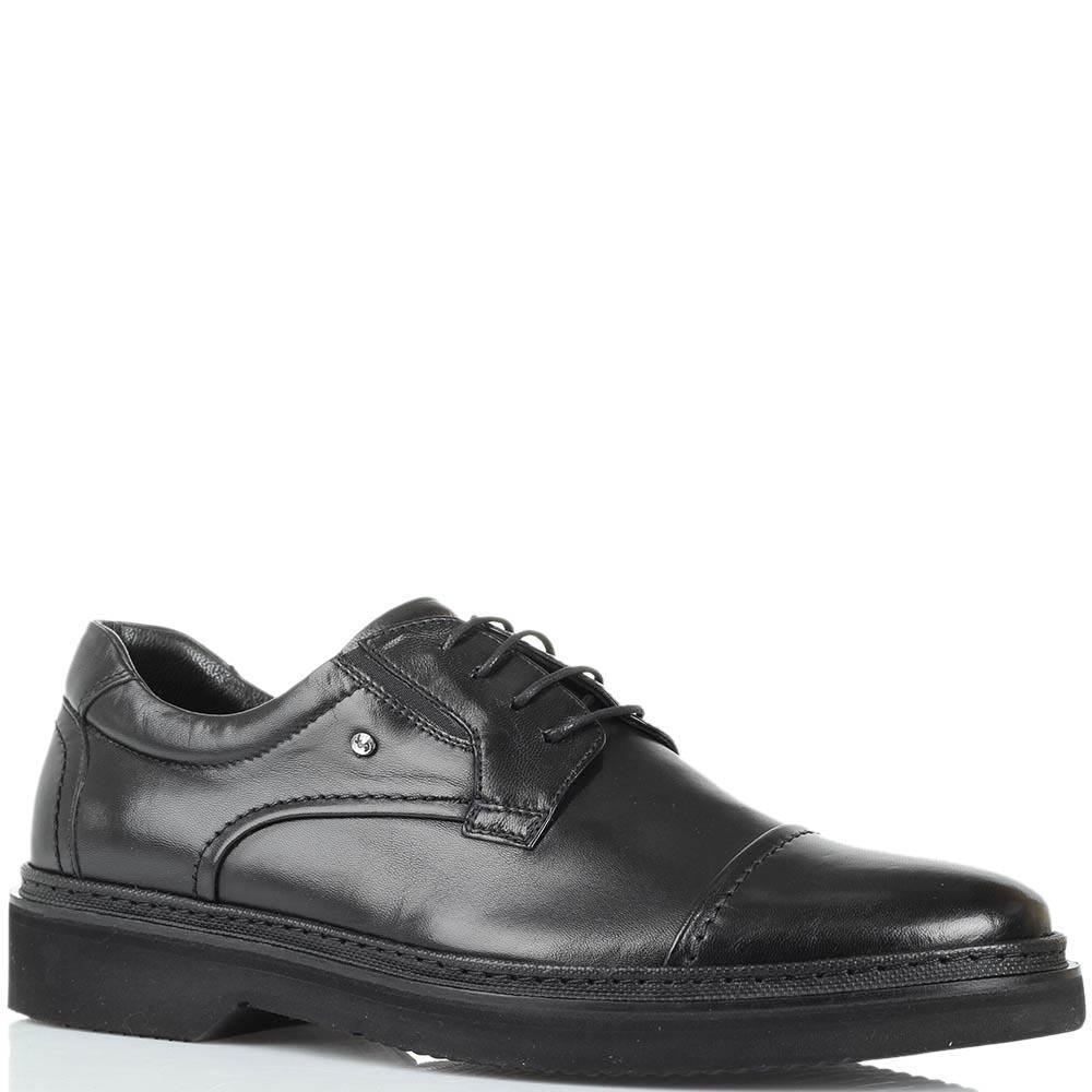 Кожаные туфли черного цвета Roberto Serpentini на толстой подошве