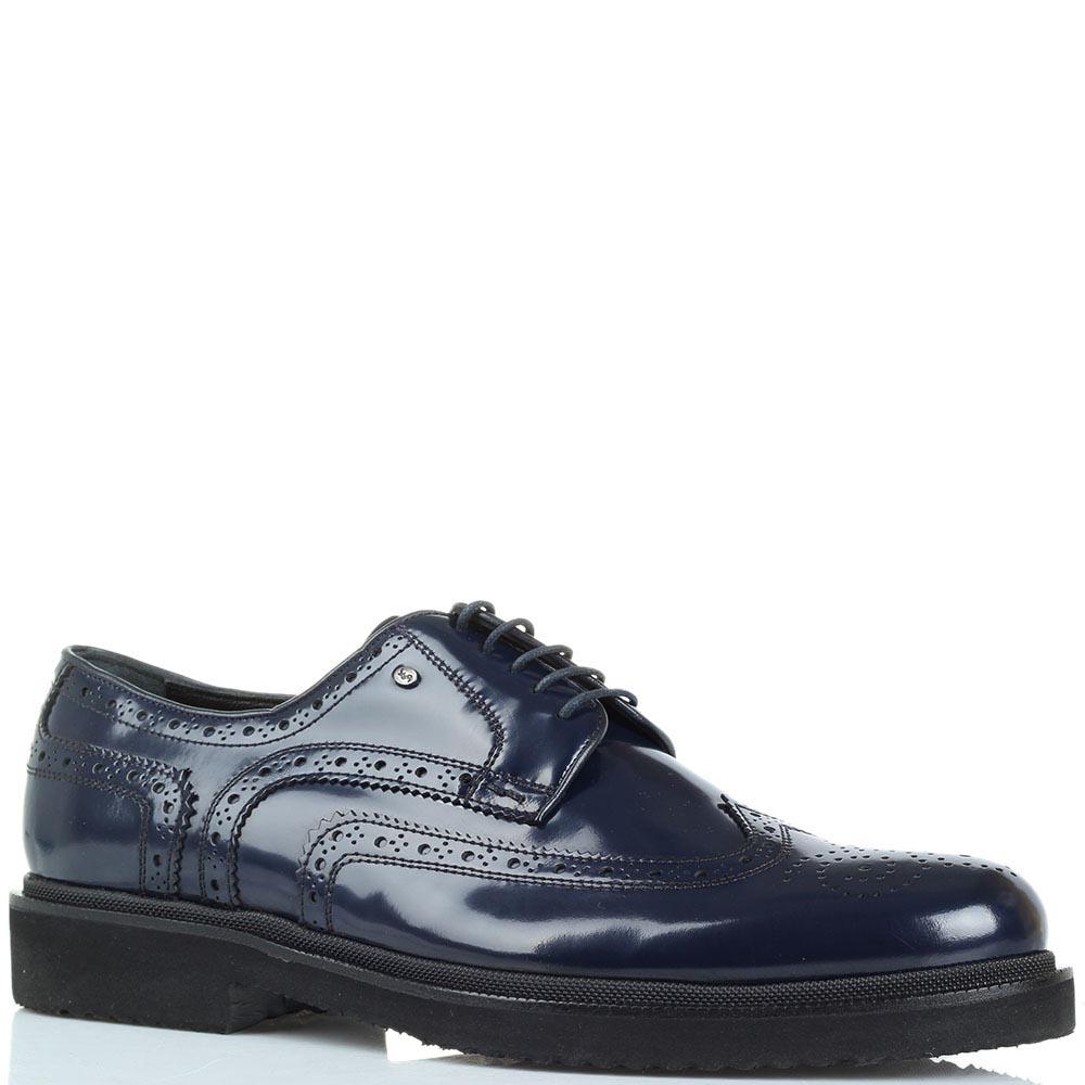 Туфли-броги с перфорацией Roberto Serpentini из полированной кожи синего цвета