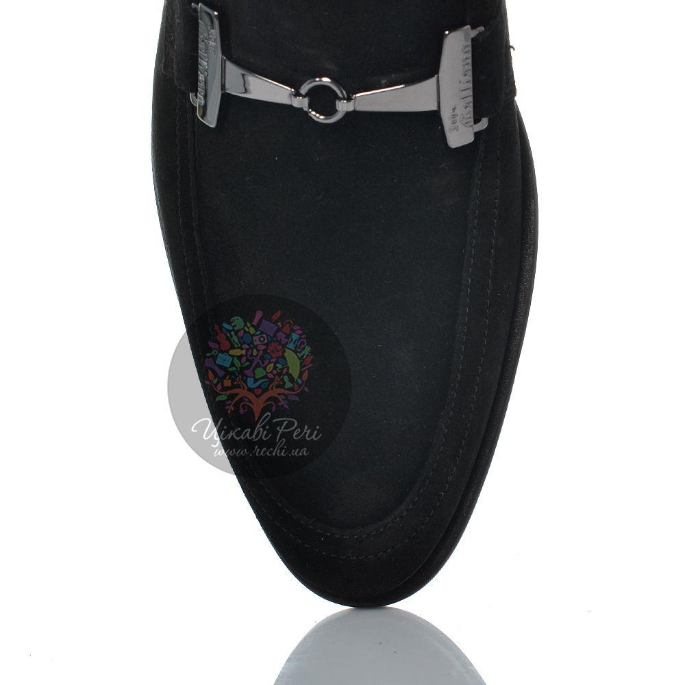 Лоферы John Galliano замшевые черные с серебристой перемычкой