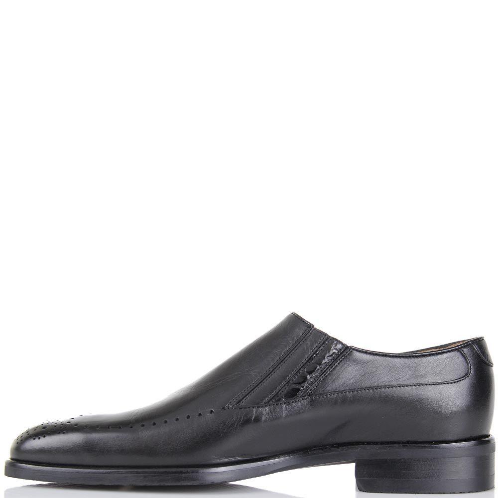 Кожаные туфли Pakerson черного цвета с перфорацией