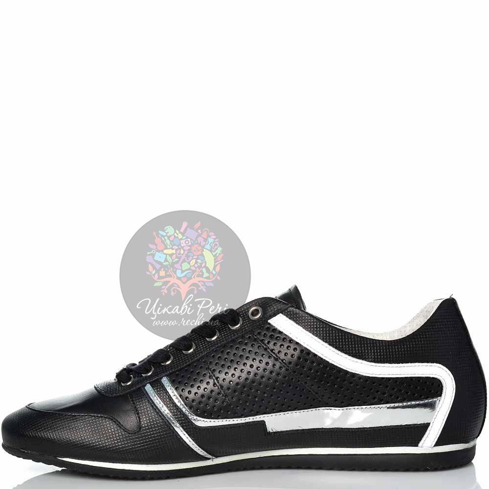 Кеды Alessandro Dell Acqua кожаные черные с перфорацией серебристыми и белыми вставками