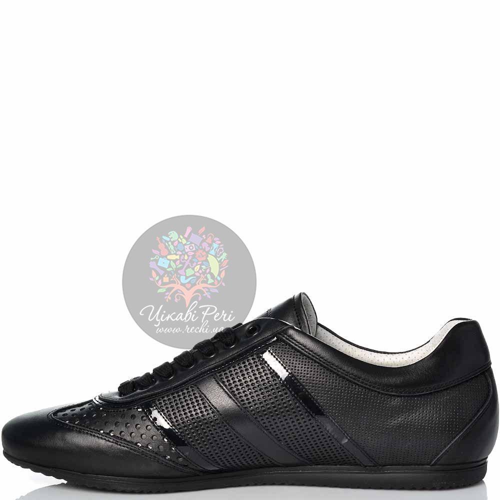 Кеды Alessandro Dell Acqua кожаные черные с перфорированным и лаковым декором