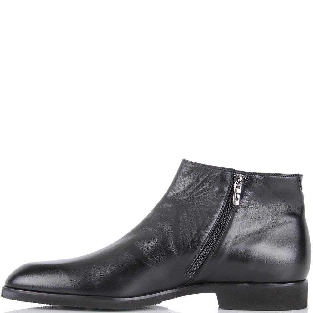 Ботинки Pakerson из кожи черного цвета со вставкой-резинкой
