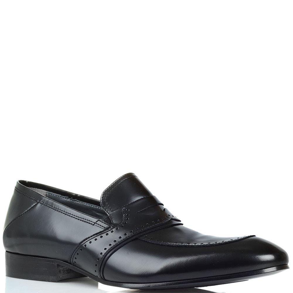 Кожаные туфли-лоферы Giovanni Conti из полированной кожи черного цвета