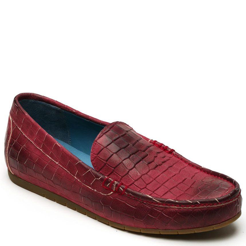 Мокасины Modus Vivendi кожаные красного цвета с коричневыми подпалами