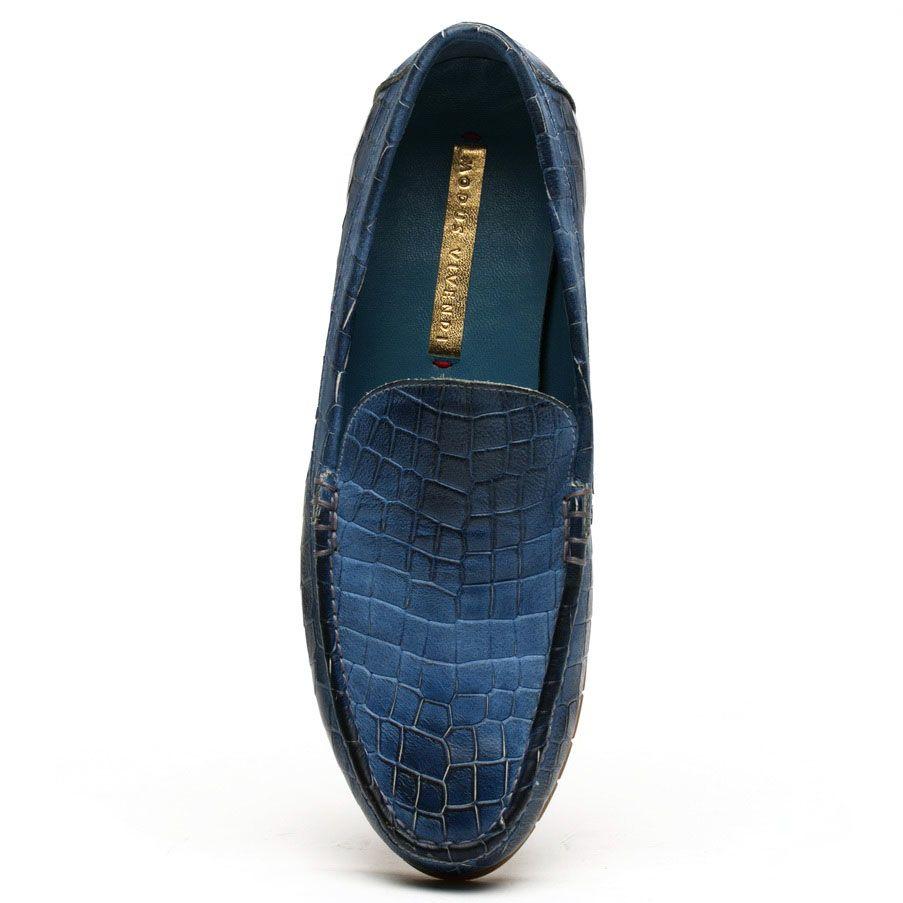 Мокасины Modus Vivendi кожаные синего цвета с тиснением под кожу рептилии