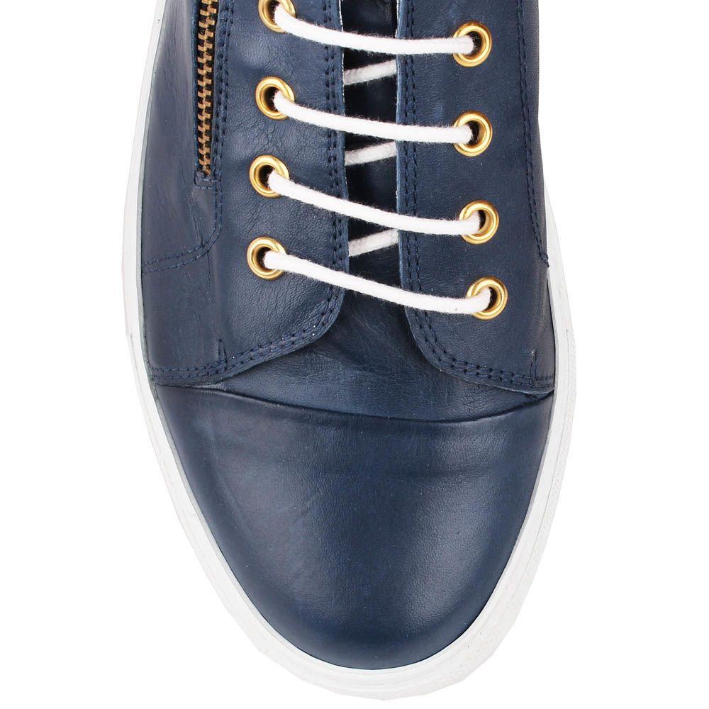 Высокие кеды Richbobois синего цвета на белой шнуровке