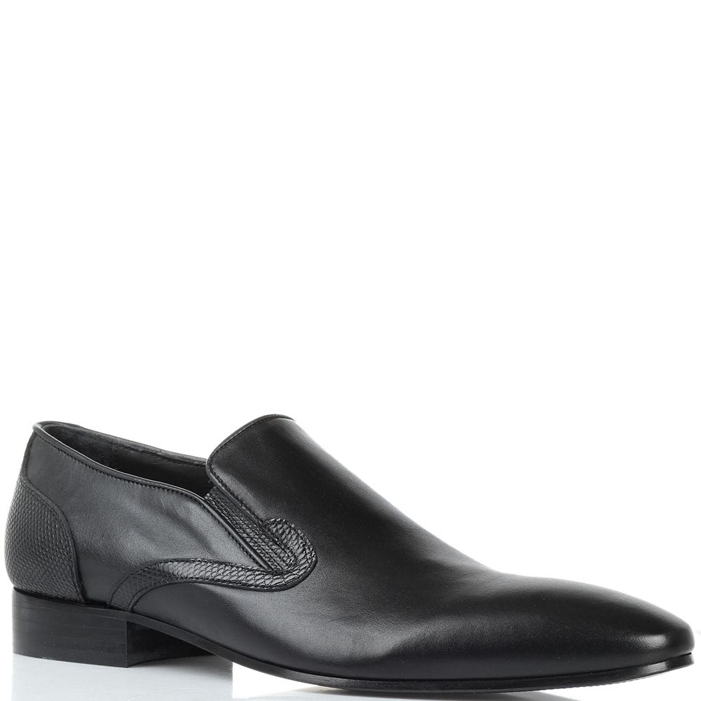 Черные кожаные туфли Borsallino с вставками-резинками