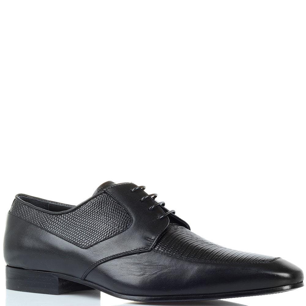 Кожаные туфли черного цвета Borsallino с тиснеными под змею деталями
