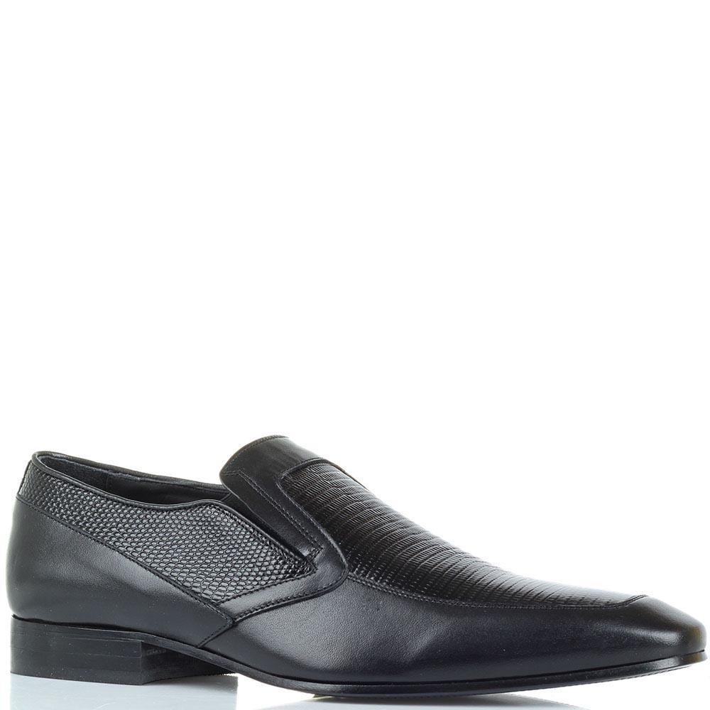 Мужские туфли Borsallino из кожа с вставками под кожу рептилии