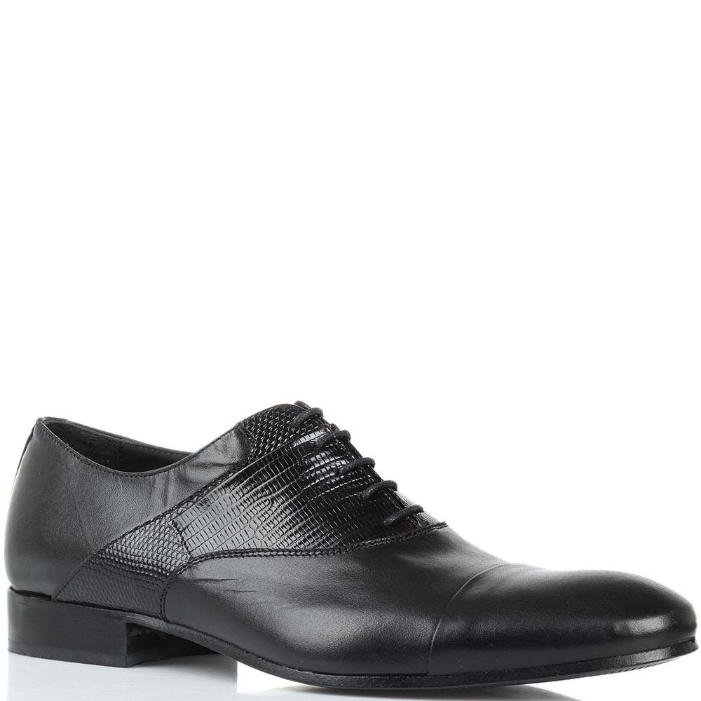 Кожаные туфли-оксфорды черного цвета Borsallino с тиснеными деталями