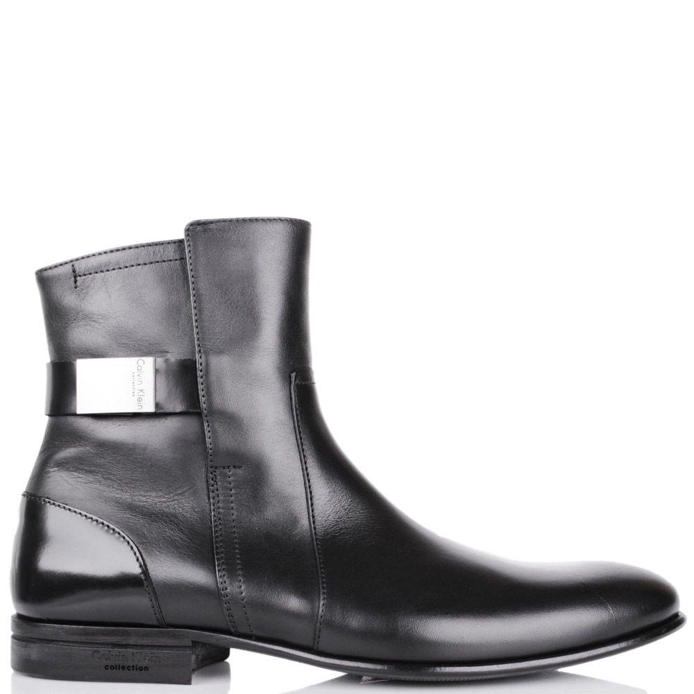 Ботинки Calvin Klein черного цвета со вставкой из полированной кожи на пятке и ремешком с металлической вставкой