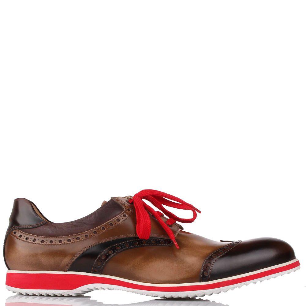 Туфли-броги G.K.M коричневого цвета с красной шнуровкой