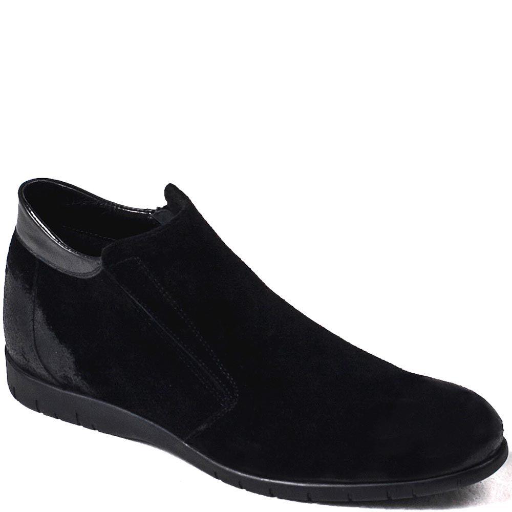 Зимние мужские ботинки Modus Vivendi из замши черного цвета со вставками из гладкой кожи