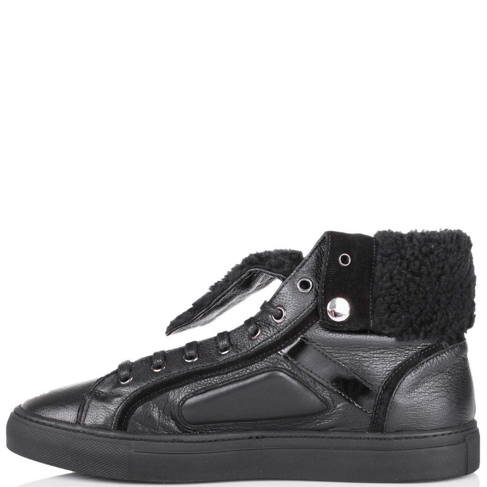 Ботинки Richmond зимние черного цвета с меховым отворотом
