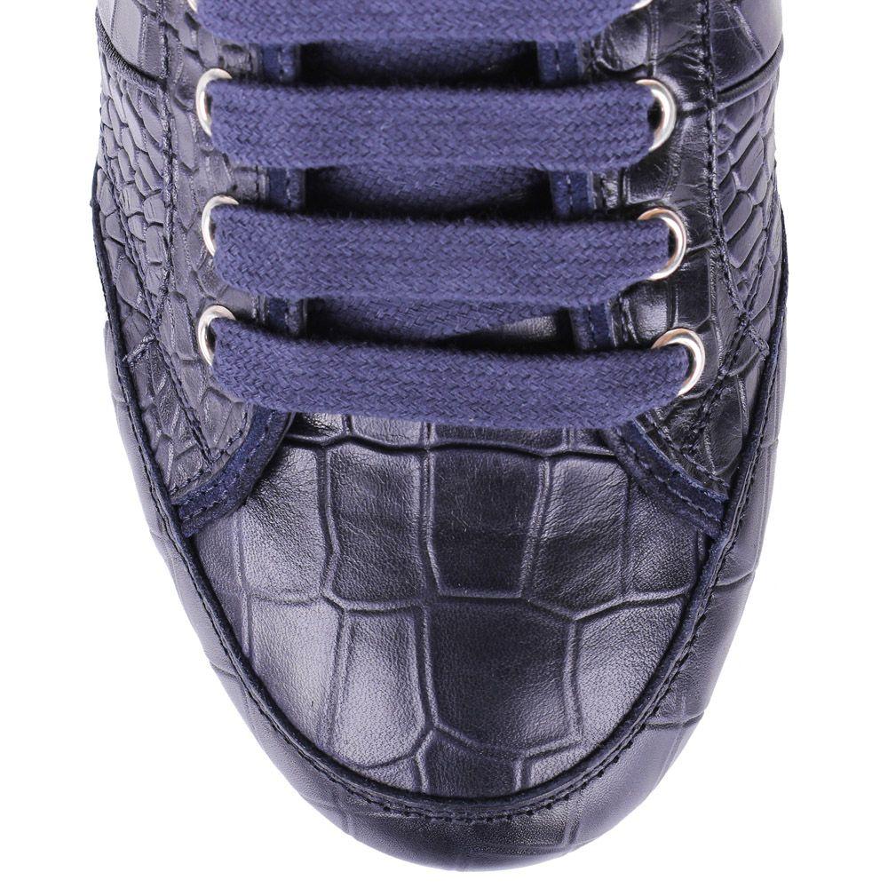 Кеды John Richmond синего цвета из кожи с тиснением под крокодила