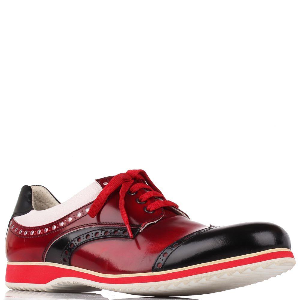 Кожаные туфли-броги G.K.M алого цвета с вставками из коричневой и белой кожи