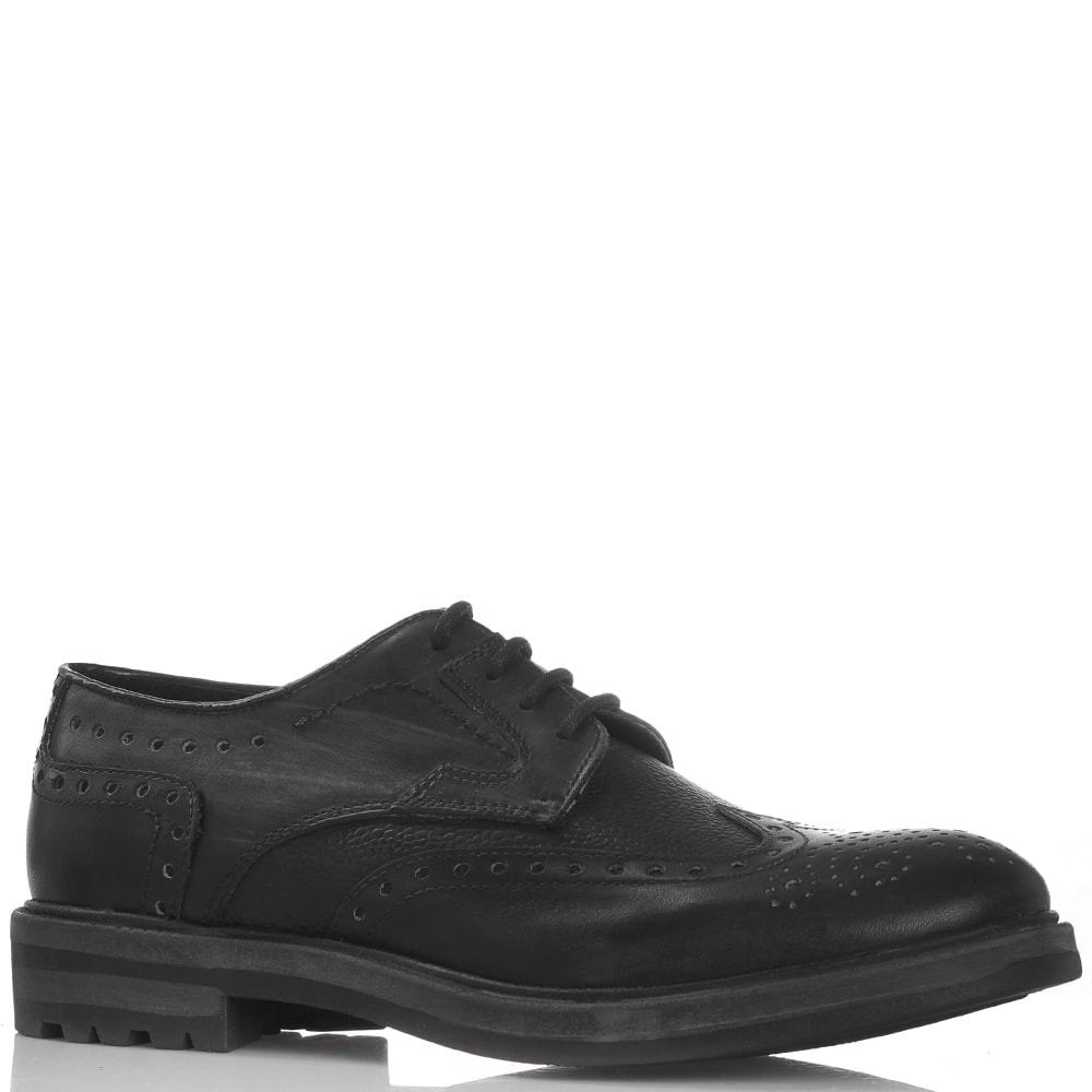 Кожаные туфли Gianni Famoso черного цвета с эффектом потертости