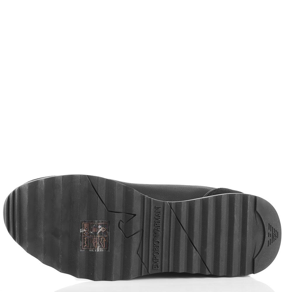 Черные кроссовки Emporio Armani с оранжевым декором