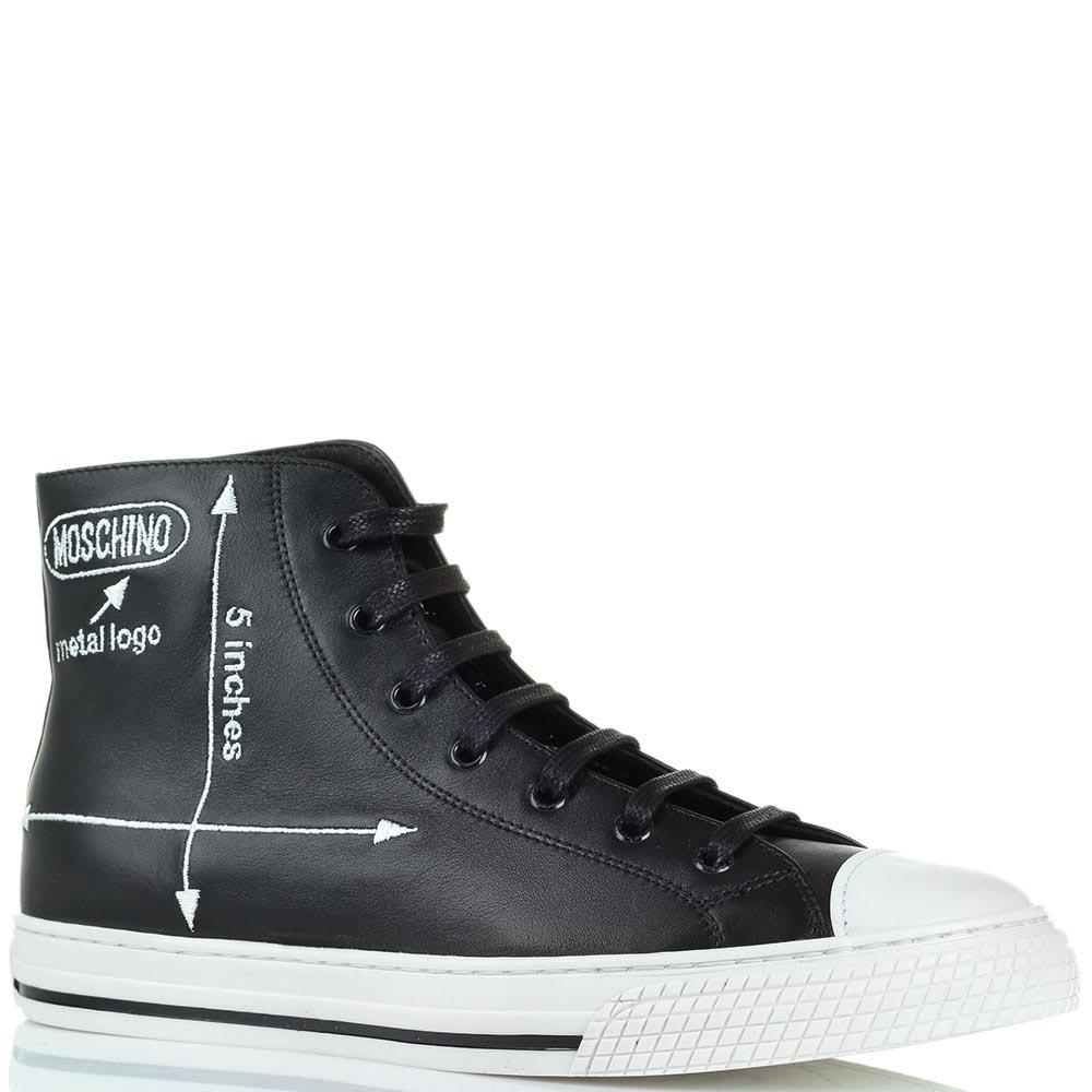 Высокие кожаные кеды черного цвета Moschino на шнуровке