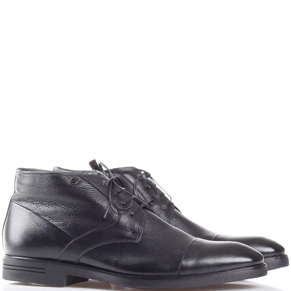 Классические ботинки Mario Bruni из мелкозернистой кожи черного цвета