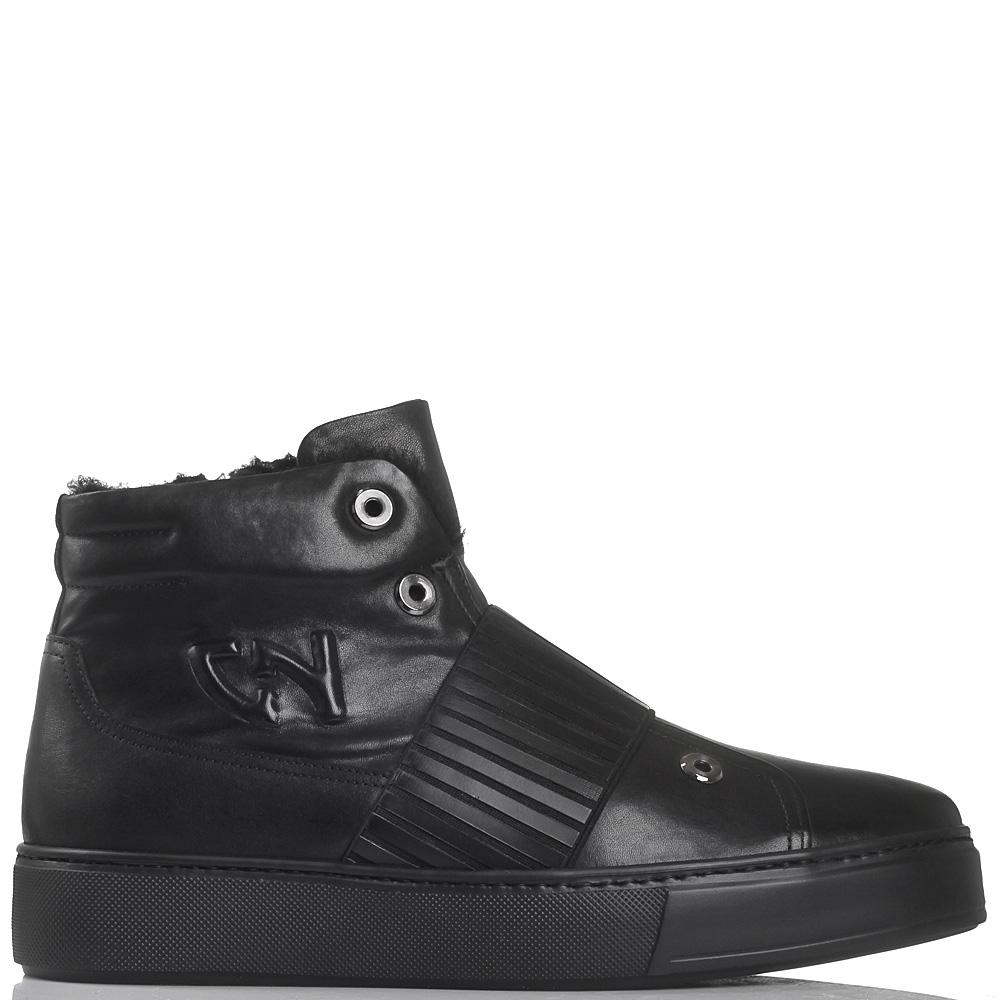 Зимние ботинки из черной кожи Giampiero Nicola на толстой подошве