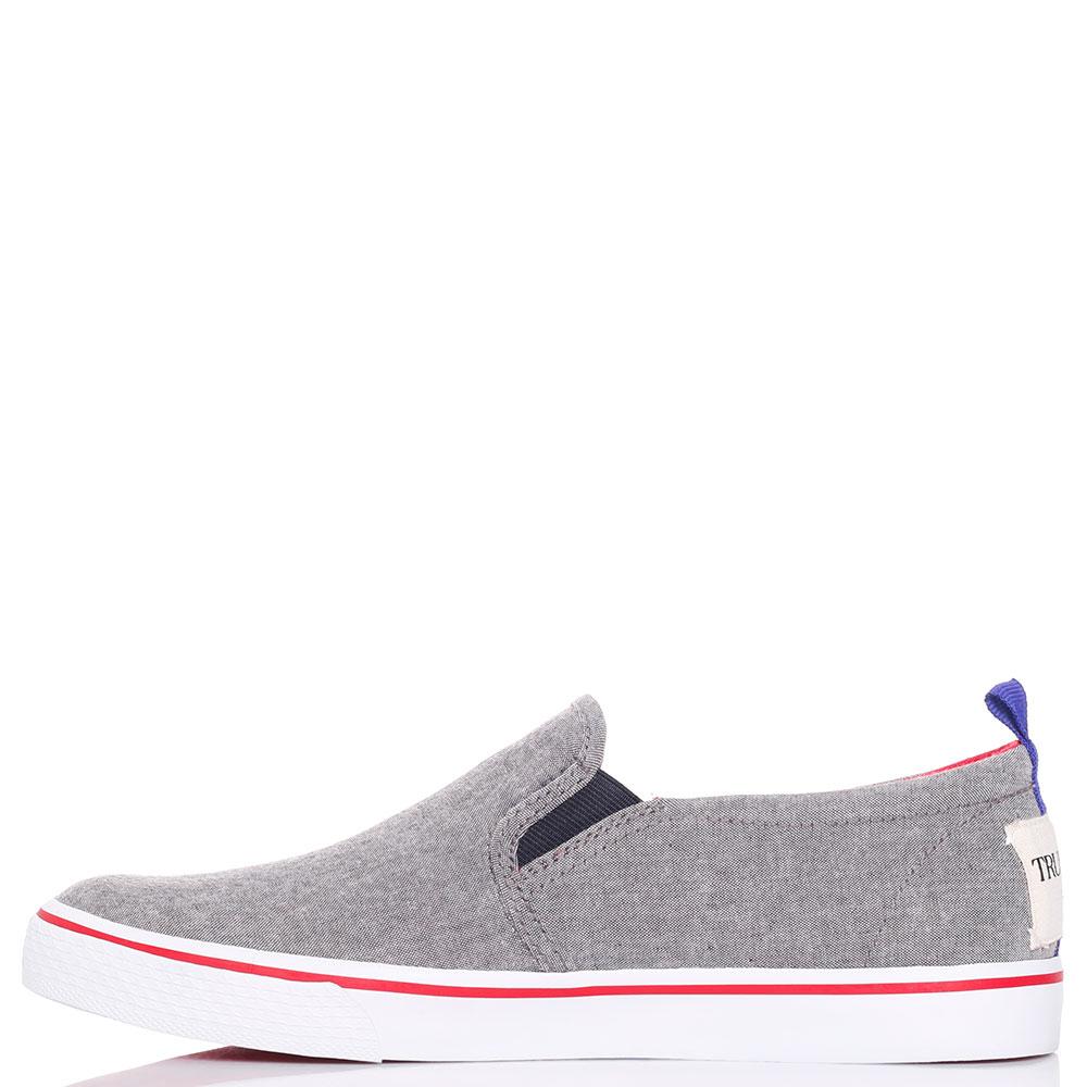 Слипоны серые Trussardi Jeans текстильные