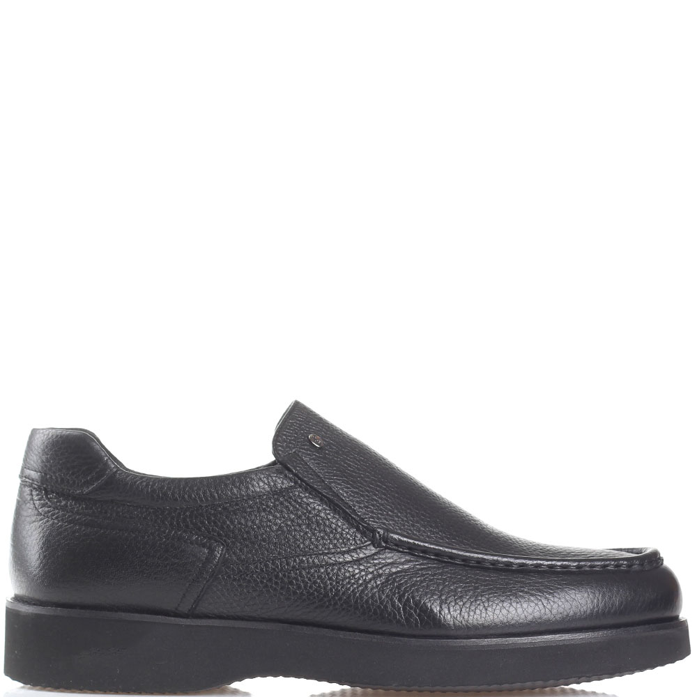 Зимние туфли Roberto Serpentini из черной кожи с декоративной строчкой