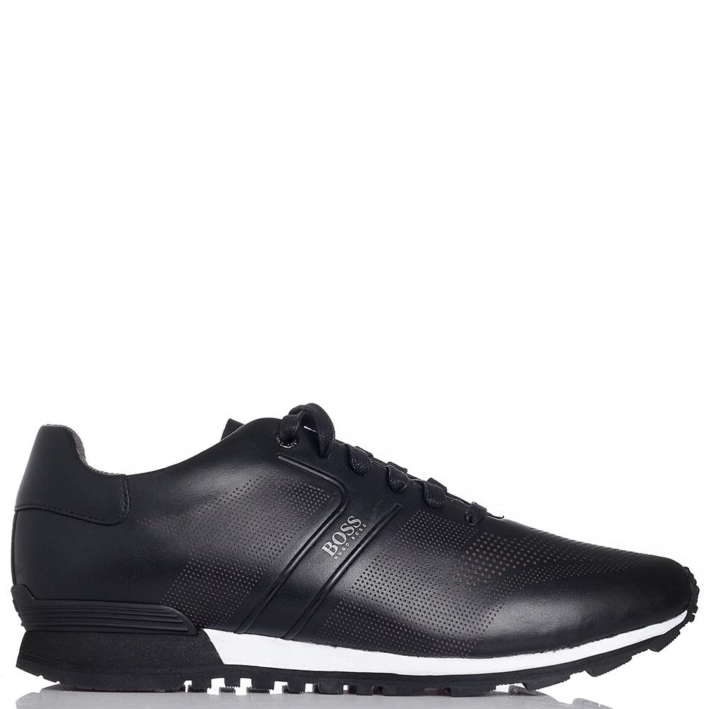 Мужские кроссовки Hugo Boss из кожи черного цвета