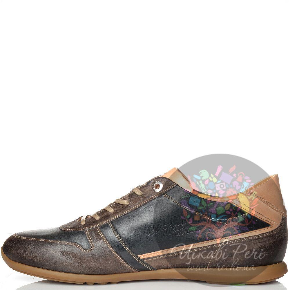 Кроссовки La Martina черно-коричневые кожаные с замшей в обработке