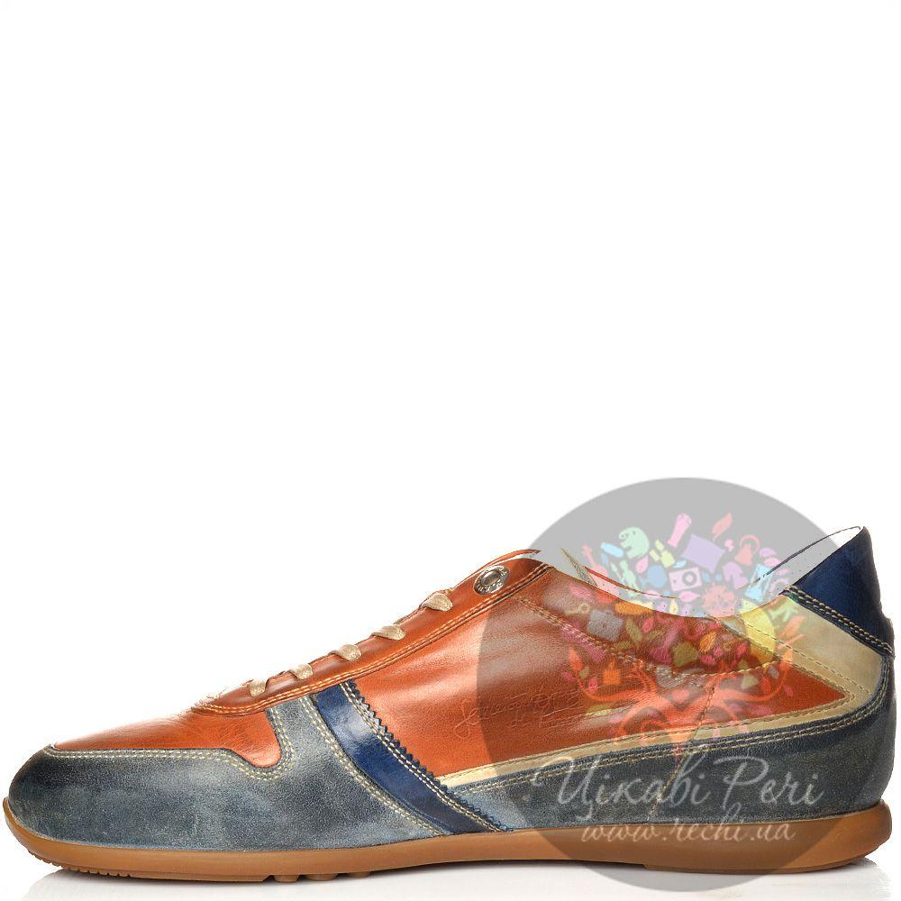 Кроссовки La Martina кожаные рыже-коричневые с сине-серыми вставками