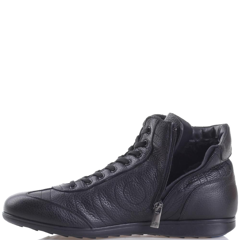 Ботинки Dino Bigioni из черной зернистой кожи