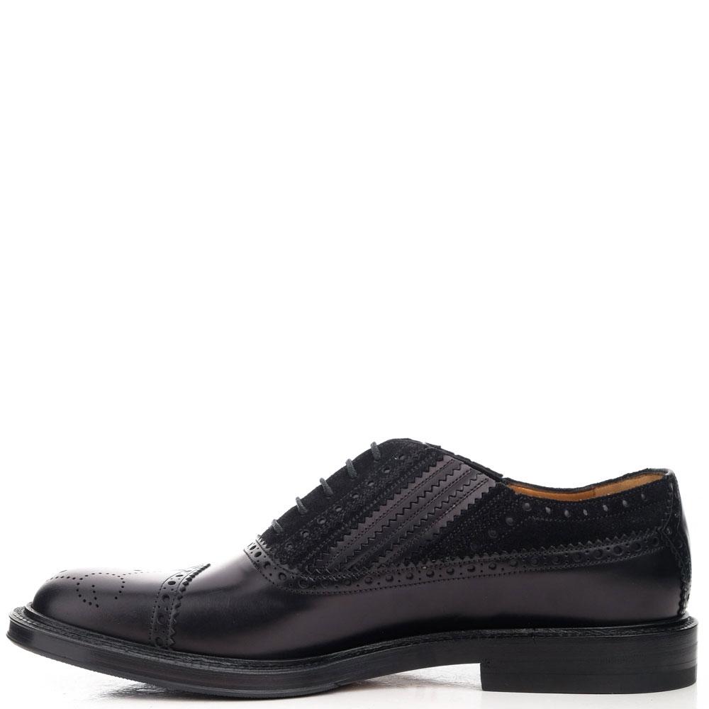 Черные туфли Gucci из комбинации кожи и замши
