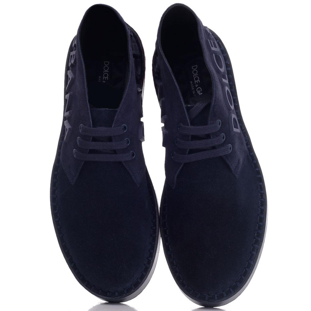 Замшевые туфли Dolce&Gabbana с логотипом