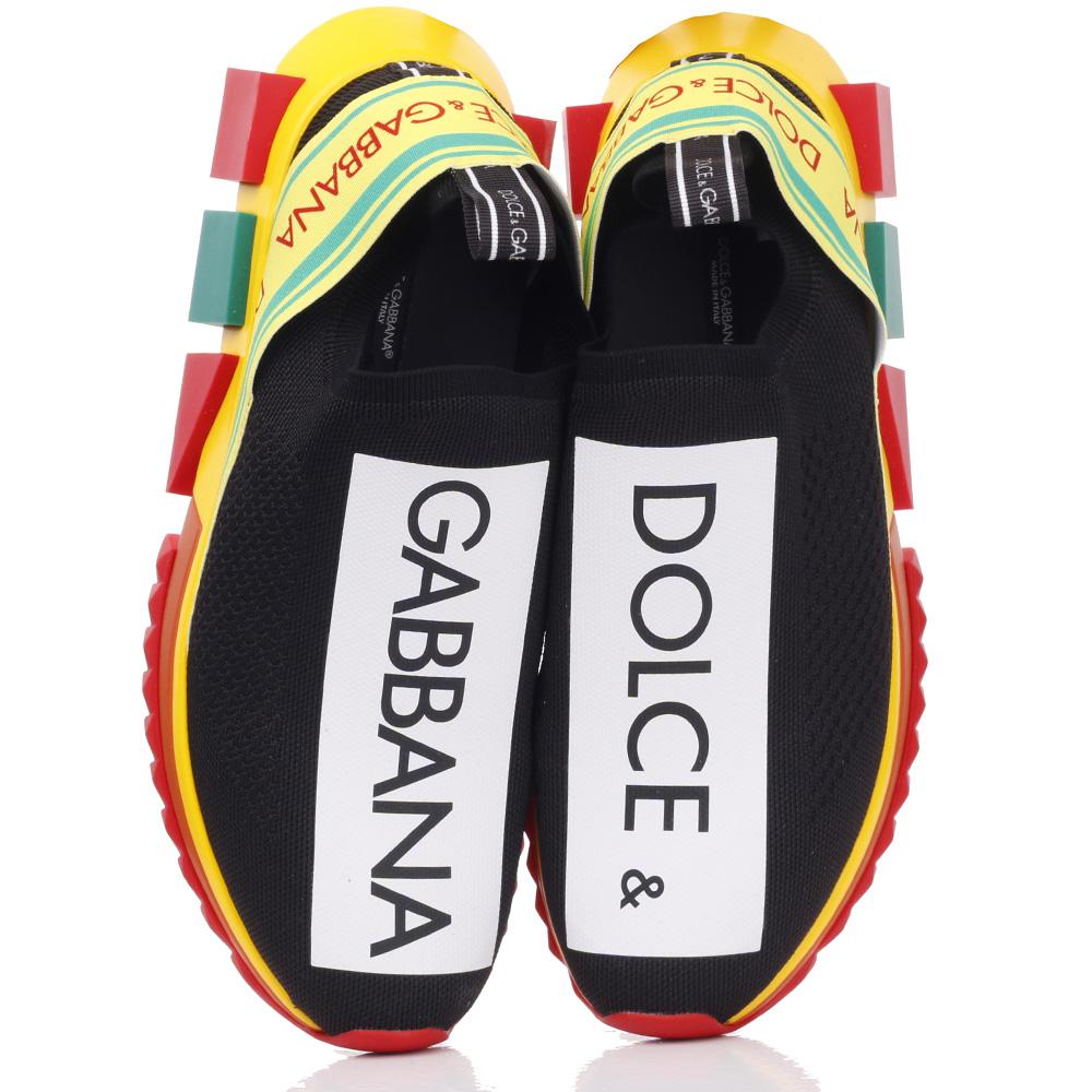 Спортивные слипоны Dolce&Gabbana на цветной подошве