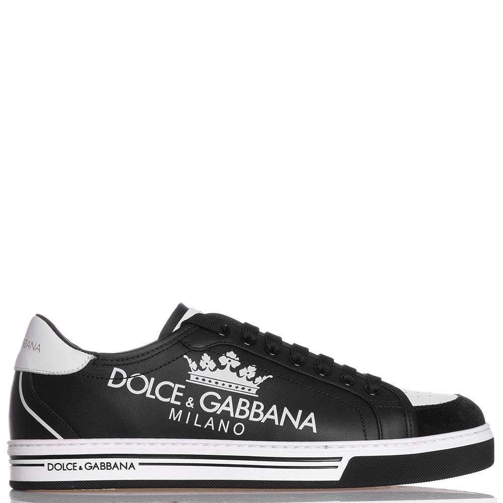 Черные кеды Dolce&Gabbana с брендовыми надписями