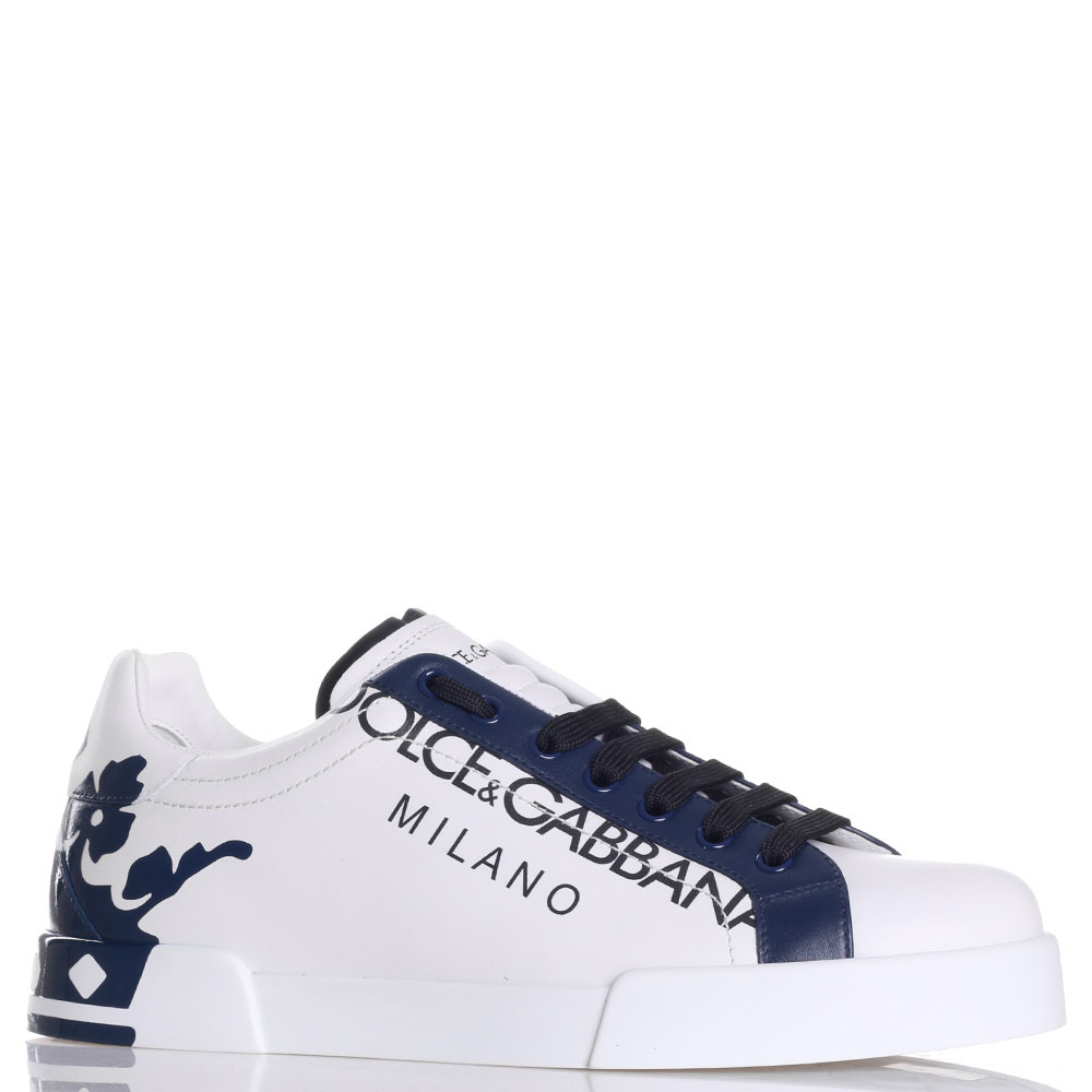 Кеды Dolce&Gabbana белые с синим