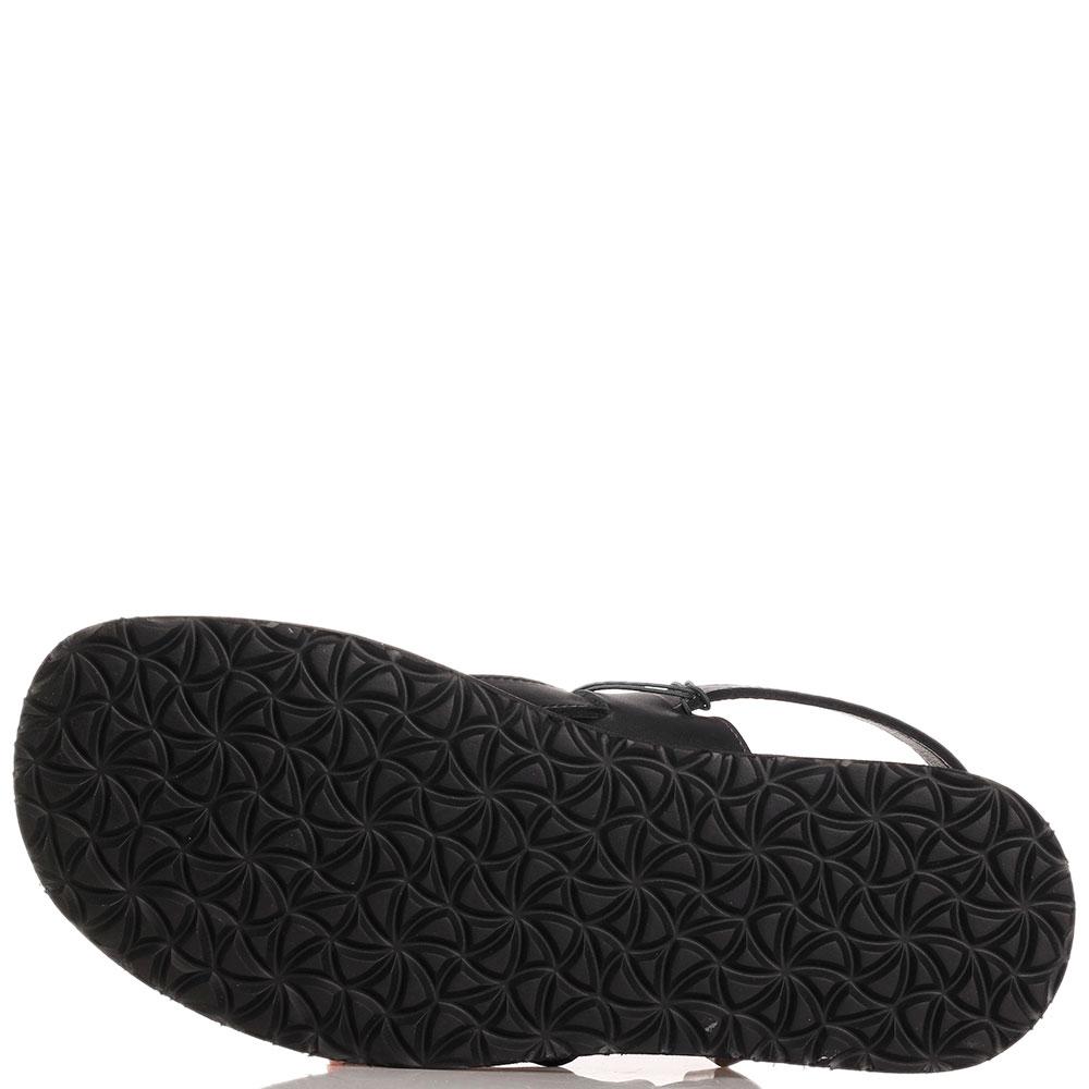 Сандалии черные Trussardi Jeans из гладкой кожи