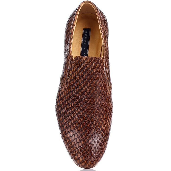 Мужские туфли Modus Vivendi из кожи коньячного цвета с имитацией кожи рептилии