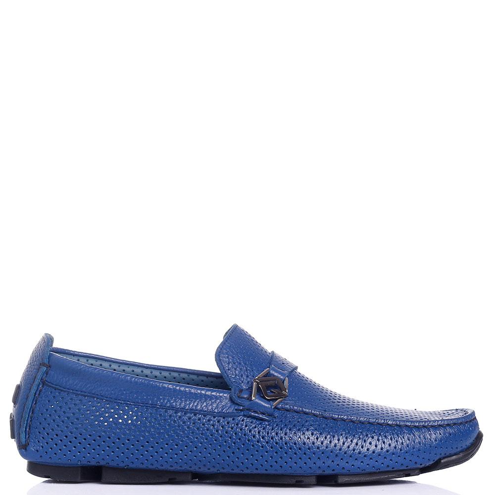 Перфорированные мокасины Luca Guerrini синего цвета