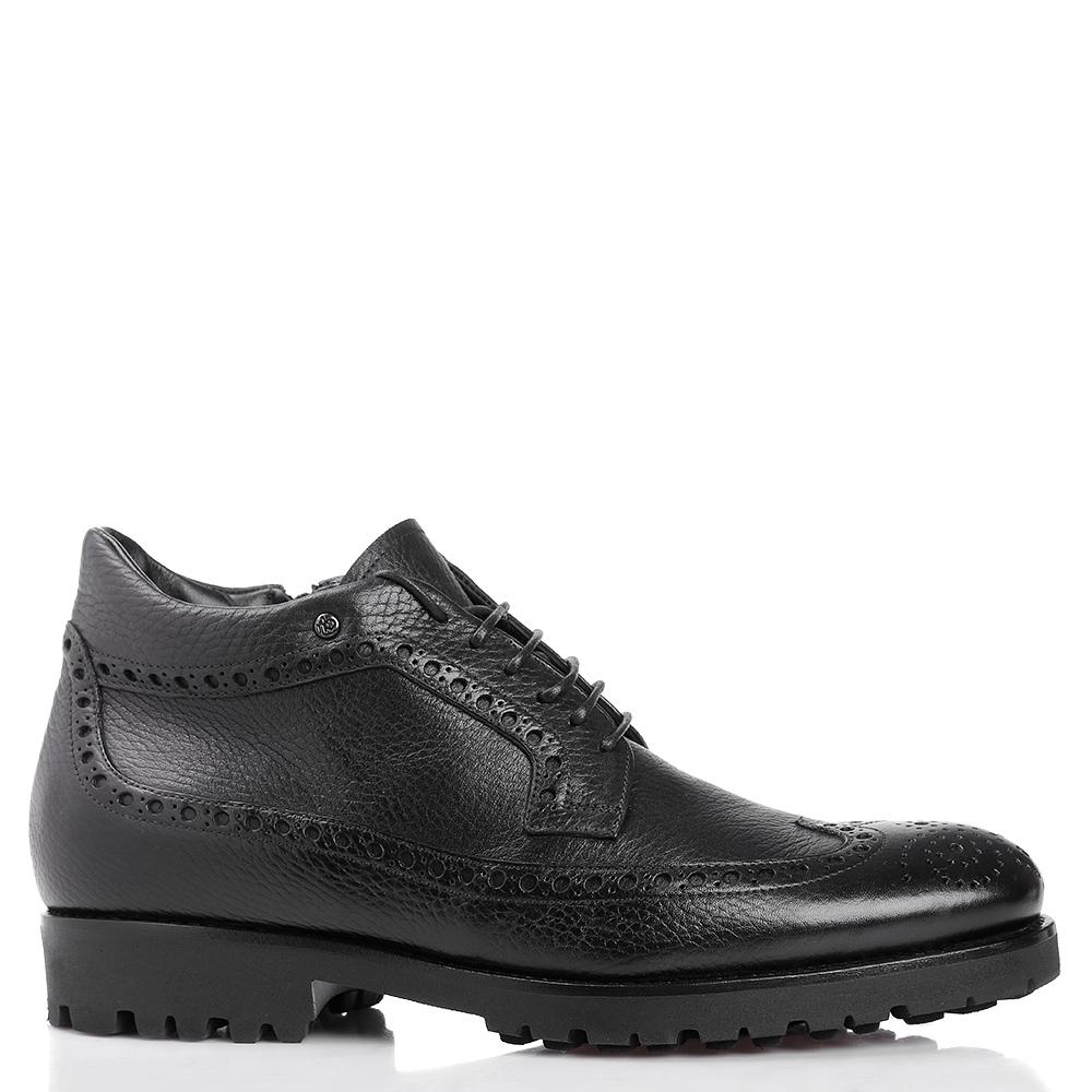 Ботинки-броги Mario Bruni из черной зернистой кожи