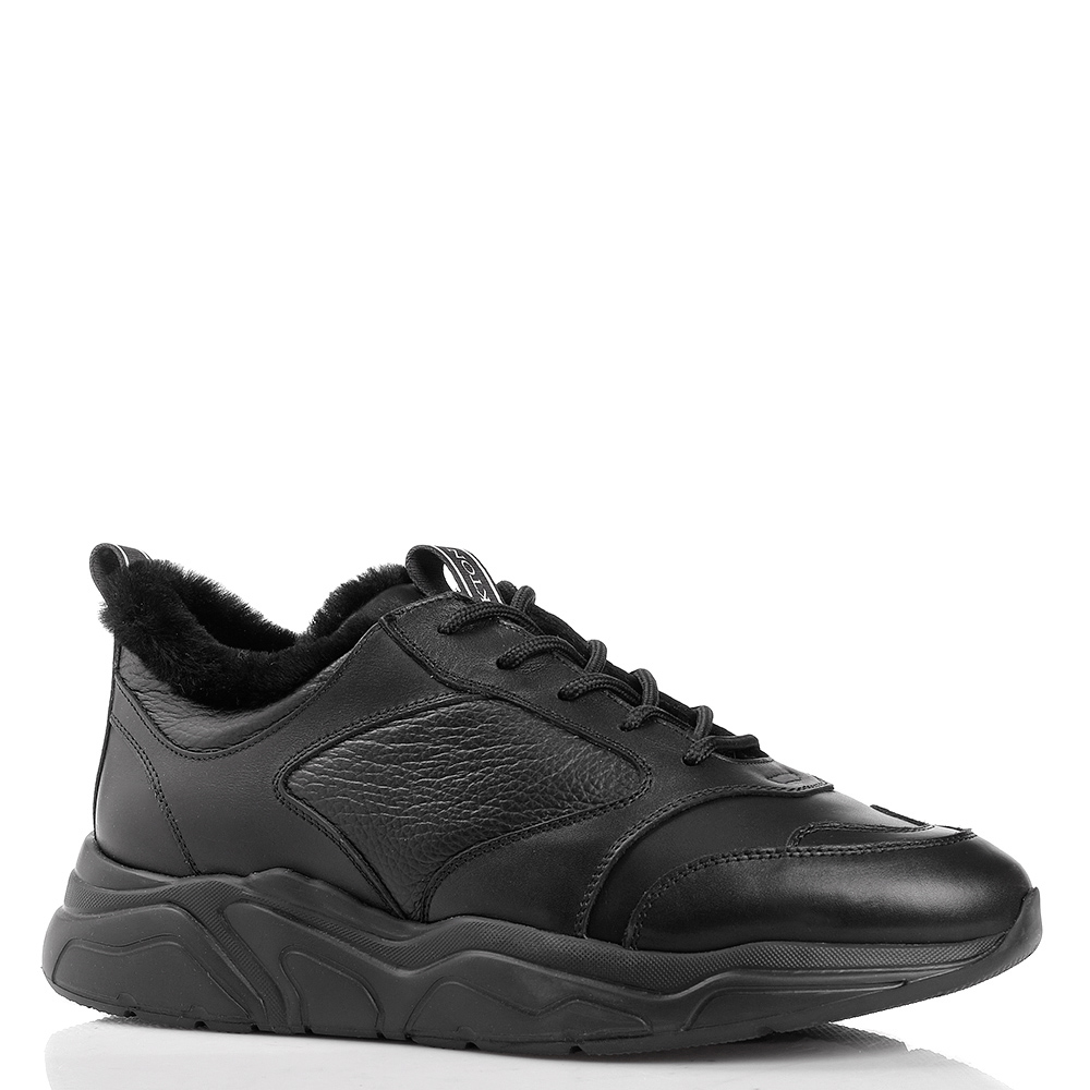 Утепленные кроссовки Stokton из черной кожи