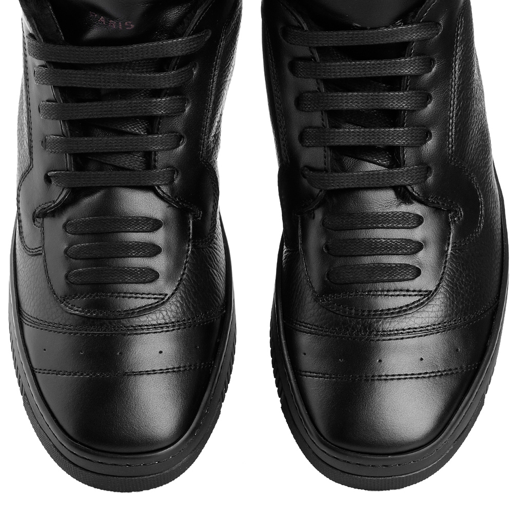 Черные ботинки John Galliano из комбинации гладкой и зернистой кожи