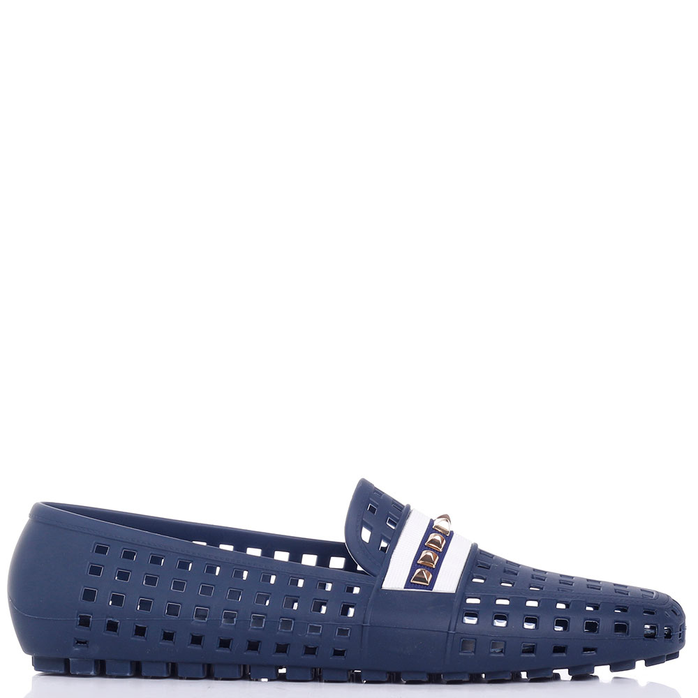 Синие мокасины Menghi с крупной перфорацией