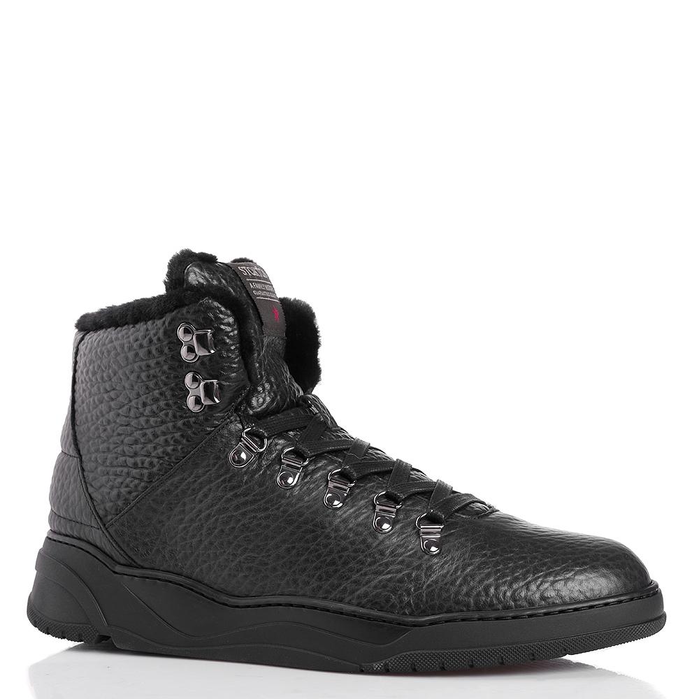 Черные ботинки Stokton из крупнозернистой кожи